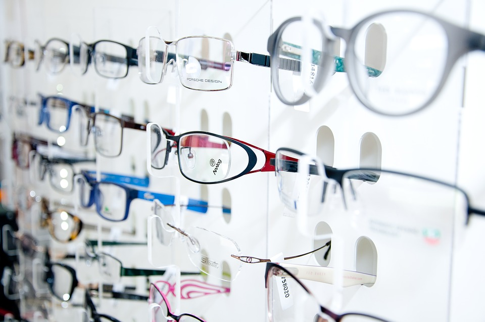 glasses in an optical sotre
